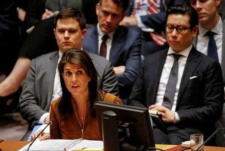 Embaixadora americana na ONU, Nikki Haley, em pronunciamento hoje no Conselho de Segurança das Nações Unidas