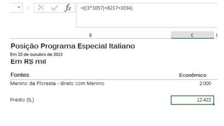 Planilha chamada de 'Programa Especial Italiano', traz anotação 'Prédio (IL)'; para procuradores, 'IL' significa 'Instituto Lula'
