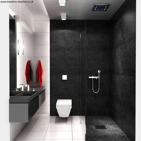 52. Linda inspiração de modelo de banheiro com pastilha preta