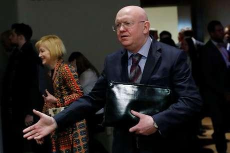 Embaixador russo na ONU, Vassily Nebenzia, dá entrevista em Nova York 12/04/2018 REUTERS/Shannon Stapleton