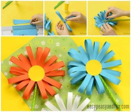 5. Passo a passo de como fazer flor de papel com tiras