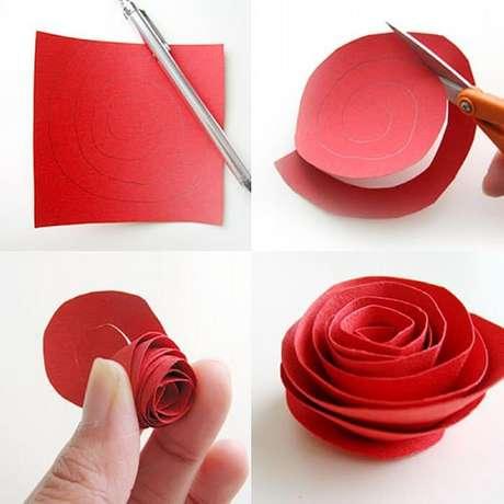 2. Passo a passo de como fazer flor de papel simples