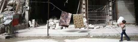 Área destruída por batalhas na Síria