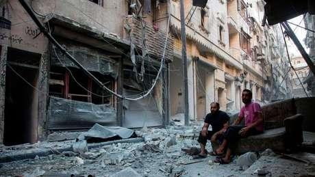 Karm al-Jabal depois de um bombardeio da coalizão liderada pelos EUA em que quase 90 soldados sírios morreram, em setembro de 2016