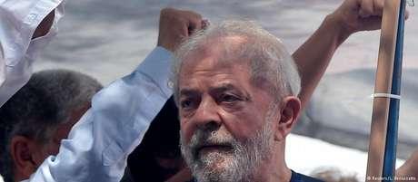 O ex-presidente Lula, em comício antes de ser preso em São Bernardo