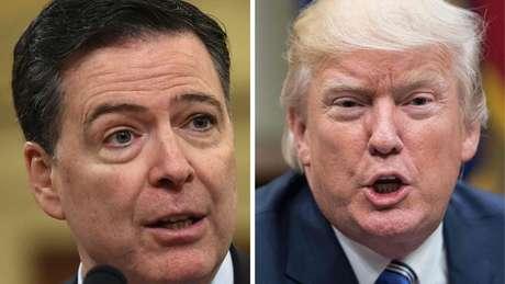 James Comey (à esq.) compara Trump a um mafioso em seu livro de memórias