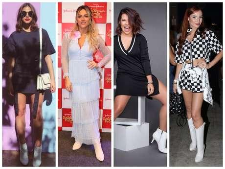 Famosas entram na tendência da bota branca (Fotos: AgNews - Instagram/Reprodução)