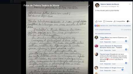 Quando viu a mensagem da desembargadora no Facebook, Débora escreveu uma carta-resposta a mão e postou 'para combater o preconceito'