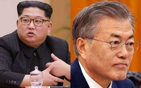 Ditador norte-coreano, Kim Jong-un, e o presidente sul-coreano, Moon Jae-in