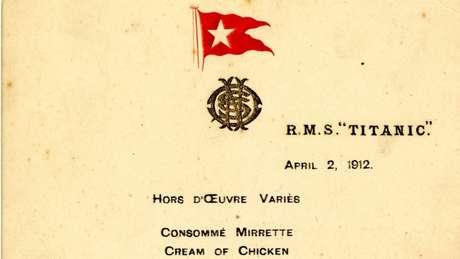 Almoço foi servido a funcionários no primeiro dia dos testes do navio no mar, em 2 de abril de 1912.