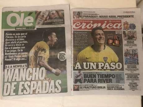 Capas de jornais argentinos nesta segunda-feira com a vitória do Boca Juniors (Foto: Thiago Ferri)