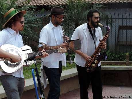 Ricardo Troccoli toca violão ressonante com o Unidos do Swing