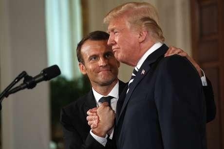 Trump e Macron concedem entrevista na Casa Branca  24/4/2018    REUTERS/Kevin Lamarque