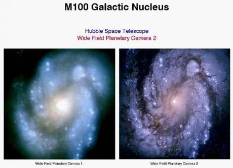 Primeira imagem do Hubble (à direita) em comparação com foto de satélite na Terra (Foto: NASA/ESA)