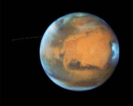 Imagem mostra lua de Marte em movimento (Foto: NASA/ESA)