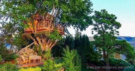 29. Casa na árvore em floresta bem verde
