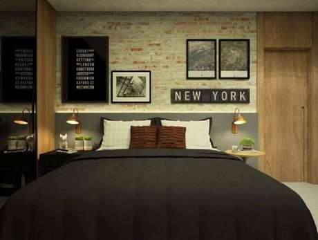 6. Papel de parede para quarto de casal com estilo urbano e moderno