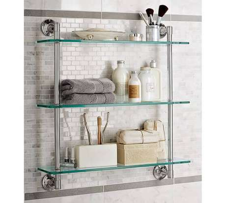 54. Prateleiras de vidro com estrutura metálica