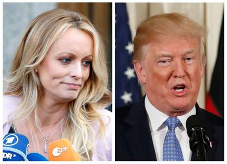 Fotos de Stormy Daniels e Donald Trump  REUTERS/Brendan Mcdermid (E) REUTERS/Joshua Roberts (D)