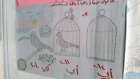 """A legenda na parte superior do desenho diz: """"Irmãos: Safa, Zahra, Fatima, Osama, Joud"""". A legenda na parte inferior do desenho diz (da esquerda para a direita): """"Meu pai em 2010"""", """"Meu pai em 2011"""", """"Meu pai em 2014""""."""