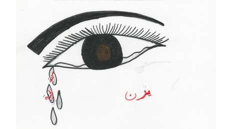 """As palavras escritas em vermelho dentro das lágrimas dizem: """"Bela Síria""""."""