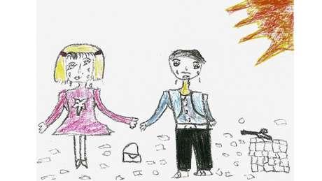 """Myassar, de 14 anos: """"Eu desenhei a mim e à minha irmã chorando quando meu pai nos deixou, há dois anos. Não sabemos nada dele. Esta é minha lembrança mais triste""""."""