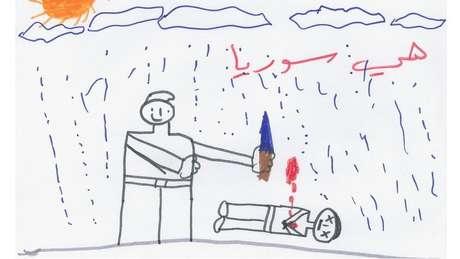 """Este desenho mostra um adulto de pé ao lado de um cadáver. """"Isto é a Síria"""", diz a frase escrita acima do desenho. O médico Hamza, neuropsicólogo da Sociedade Médica Sírio-Americana, diz que as crianças que conheceu se mostraram desprovidas de qualquer esperança no futuro."""