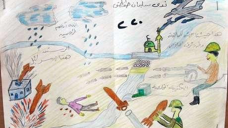 """Este desenho mostra um aparente ataque aéreo com mísseis atingindo um edifício. O texto acima do soldade que dispara uma metralhadora diz: """"Este é nosso exército de resistência. Nação, honra e lealdade""""."""