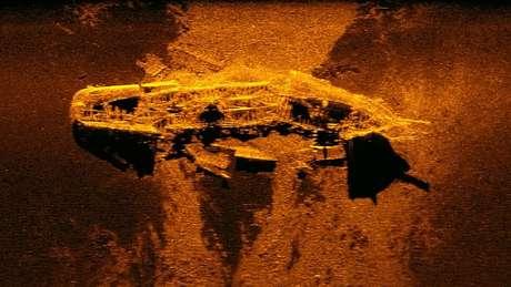 Imagem sonar de um dos navios encontrados em 2015