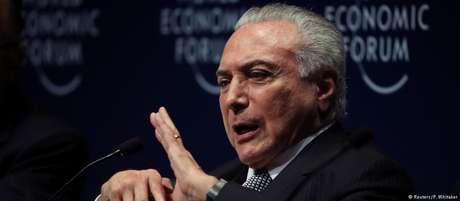 O presidente Michel Temer, durante evento do Fórum Econômico Mundial em São Paulo, em 14 de março