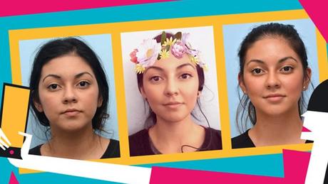 Crystal antes e depois de procedimento: Ela injetou preenchimentos faciais no nariz e embaixo dos olhos para ficar mais parecida com selfie em que usa filtro (na foto do centro) | Fotos e ilustrações de Rebecca Hendin / David Mabrie / Getty / BBC Three