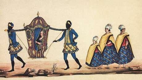Dama em liteira, carregada por escravos, e suas acompanhantes em aquarela de Carlos Julião do último quarto do século 18