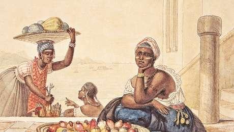 Negra tatuada vendendo cajus em aquarela sobre papel de Jean-Baptiste Debret