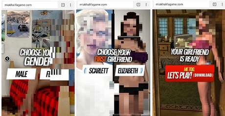 Opções oferecidas pelo Virtual Girlfriend: nem pense em clicar nisso!