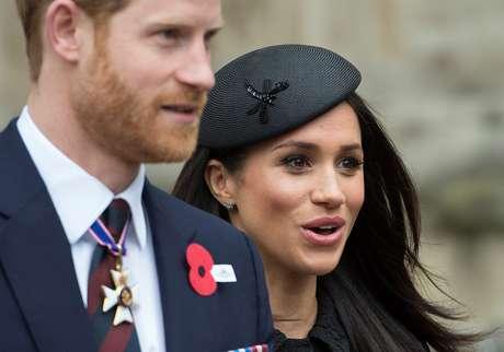 Príncipe britânico Harry e sua noiva, a atriz norte-americana Meghan Markle, durante cerimônia na Abadia de Westminster, em Londres 25/04/2018 Eddie Mulholland/Pool via Reuters