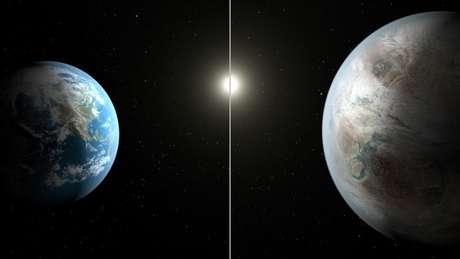 Arte da NASAmostracomo seria oKepler-452b em comparação com a Terra