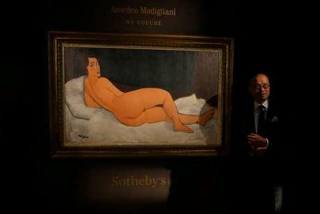"""""""Nu couché"""", quadro de Amedeo Modigliani vendido por 157 milhões de dólares em leilão em NY 24/04/2018 REUTERS/Venus Wu"""