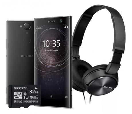 Kit com o Xperia XA2, fone de ouvidos e cartão de memória (Imagem: Divulgação / Soney)