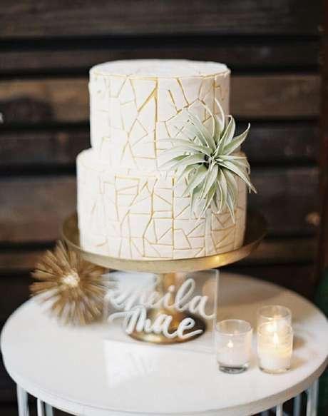 38. Decoração super moderna para bolo de casamento 2 andares