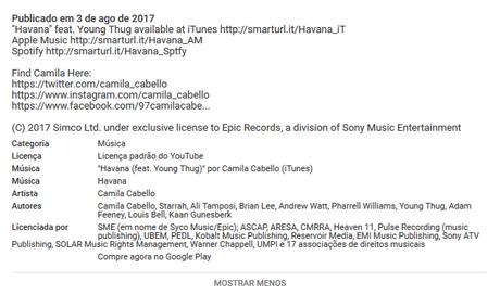 Descrição da música Havana de Camila Cabello mostra detalhes da música (Foto: Captura/Youtube)