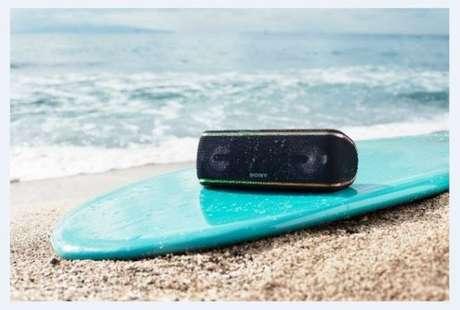 ModeloSRS-XB41. Caixas de som podem se molhar e ter contato comoutros resíduos (Foto: Divulgação/Sony)