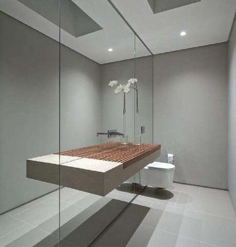 32. Banheiro decorado com estilo minimalista