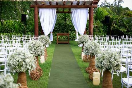6- Destaque do tule para decoração de casamento rústico