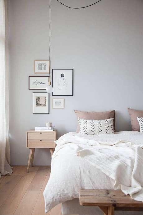 57. Decoração de quarto minimalista com modelos de quadros minimalistas
