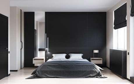 31. Decoração de quarto minimalista com paredes pretas