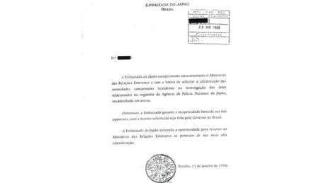 A Embaixada do Japão no Brasil formalizou o pedido junto ao Ministério das Relações Exteriores solicitando a colaboração em 1998