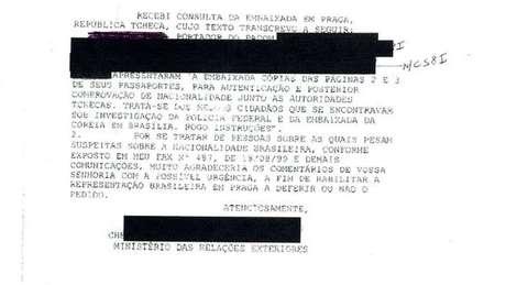 Funcionário da Embaixada do Brasil em Praga fez consulta para saber se poderia autenticar cópias dos documentos das pessoas que estavam sendo investigadas