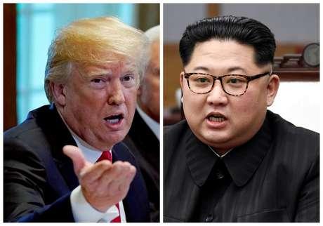 Foto combinada de Trump e Kim Jong Un  REUTERS/Kevin Lamarque e Divulgação/Fotos de arquivo