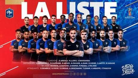 França divulga lista de convocados para a Copa do Mundo (Foto: Reprodução / Twitter)