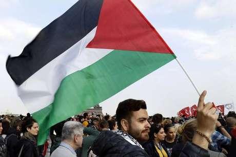 Protesto pró-Palestina em Paris, na França